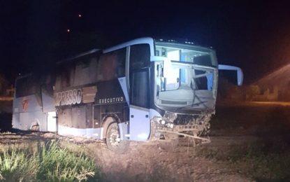 Passageiro surta e provoca acidente de ônibus na BR-135