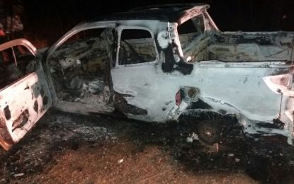URGENTE: Veículo que foi encontrado queimado próximo ao lixão em Jerumenha, foi o mesmo usado pelos bandidos, após explodirem agências do Bradesco na região.