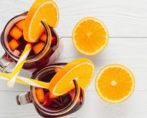 Chá gelado termogênico de hibisco com laranja