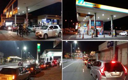 Começa a faltar combustível em Teresina e motoristas fazem filas nos postos