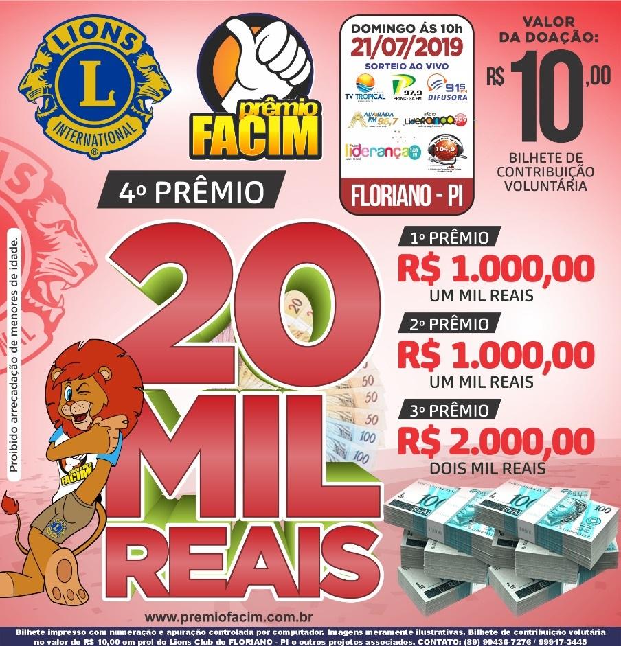 O sorteio é todo domingo às 10h transmitido pela Rádio Cidade Luz FM 104,9Mhz