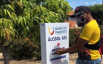 Prefeitura de Marcos Parente disponibiliza tótens contendo álcool em gel para desinfecção das mãos, em diversos pontos da cidade.