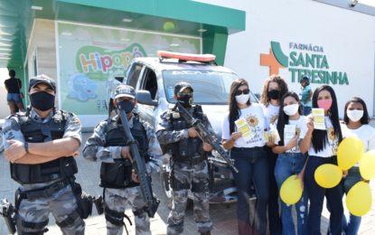 Secretaria do Trabalho e Desenvolvimento Social de Guadalupe e Polícia Militar realizam blitz educativa com informações sobre a campanha Setembro Amarelo